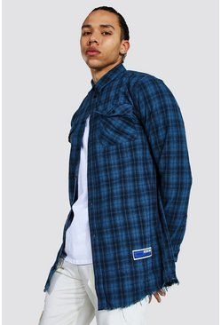 Blue Tall Longline Flannel Shirt With Back Print