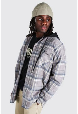 Light grey Oversized Check Hooded Curved Hem Overshirt