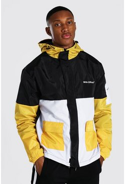 Colour Block Man Branded Front Pocket Cagoule, Mustard