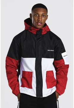 Red Colour Block Man Branded Front Pocket Cagoule