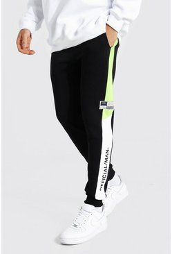 Acid lime Skinny Official Man Colour Block Joggers