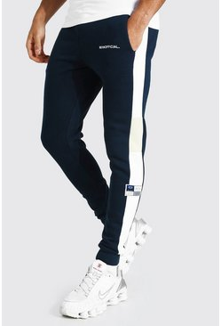 Navy Skinny Man Official Colour Block Joggers