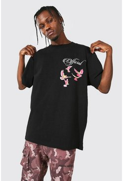 Black Oversized Printed T-shirt With Extended Neck