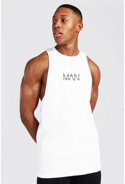 White Original Man Racer Back Tank