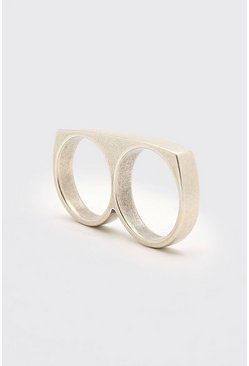 Silver Plain Double Finger Ring