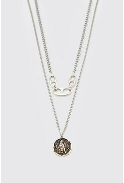 Silver Double Layer Chain With Eagle Pendant