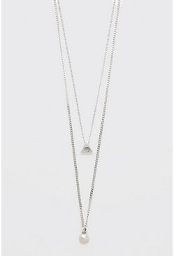 Silver Double Layer Chain With Triangle Pendant