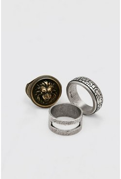 Multi 3 Pack Mixed Colour Ring Set With Lion