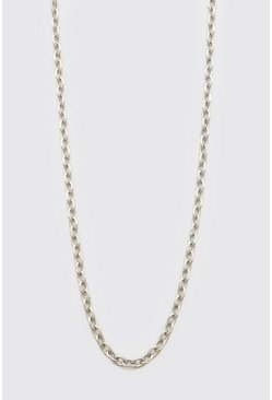 Silver Thin Anchor Chain Necklace