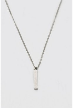 Silver Chain Necklace With Toggle And Bar Pendant