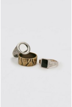 Multi 3 Pack Ring Set With Black Signet