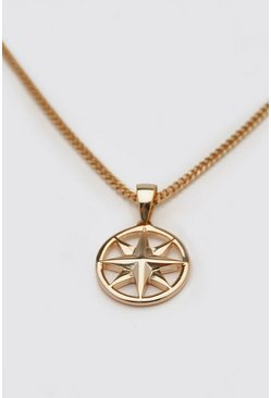 Gold Chain Necklace With Compass Pendant