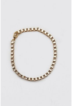 Gold Box Chain Bracelet