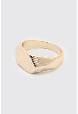 Gold Textured Signet Ring