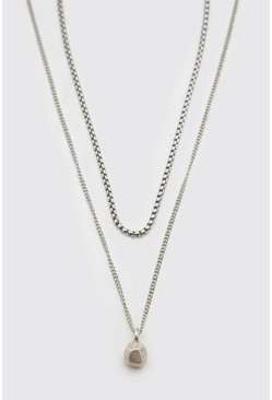 Silver Double Layer Chain With Ball Pendant