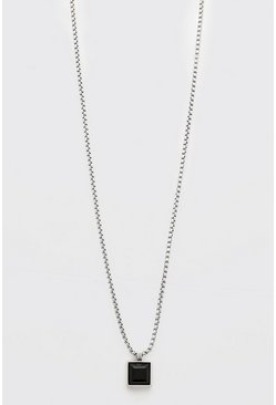 Silver Chain Necklace With Square Pendant