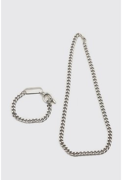 Silver Chunky Chain And Bracelet Set With Toggle