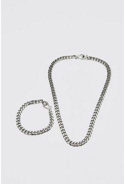 Silver Chunky Chain And Bracelet Set