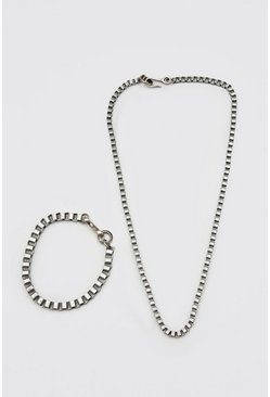 Silver Box Chain Necklace And Bracelet Set