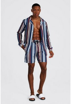 Multi Long Sleeve Revere Stripe Shirt And Swim