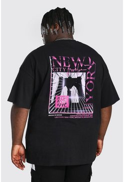 Black Plus Size New York Back Print T-shirt