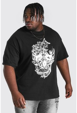 Black Plus Size Butterfly Skull Print T-shirt