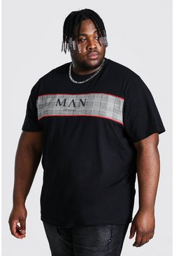 Black Plus Size Roman Man Jacquard Panel T-shirt