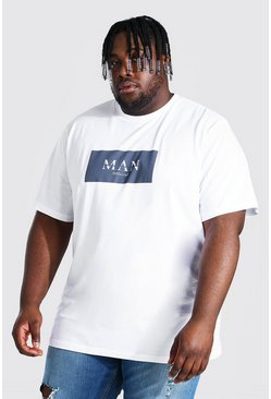 White Plus Size Roman Man Box Print T-shirt