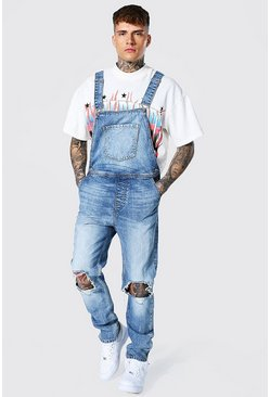 Light blue Slim Fit Long Dungaree With Zip Hem