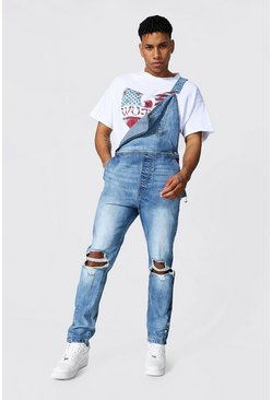 Light blue Slim Fit Long Dungaree With Popper Hem