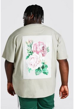 Sand Plus Size Rose Back Print T-shirt