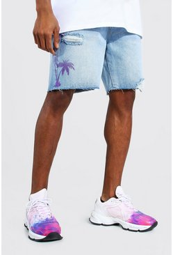 Ice blue Relaxed Fit Palm Print Denim Short