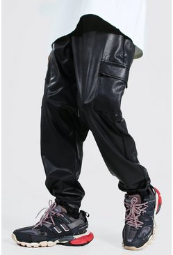 Black Pu Cargo Trouser