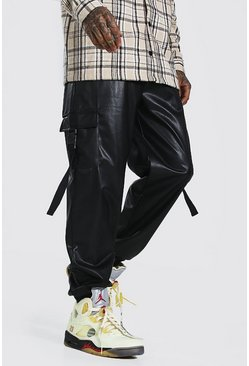 Black Pu Cargo Trouser With Straps