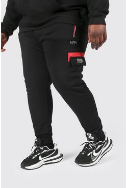 Black Plus Size Man Dash Cargo Joggers