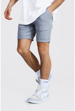 Grey Super Skinny Chino Short