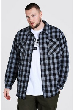 Charcoal Plus Size Quilted Check Shirt