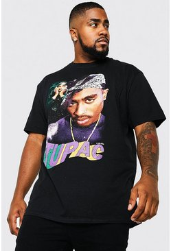 Plus Size Tupac Hommage License T-shirt, Black