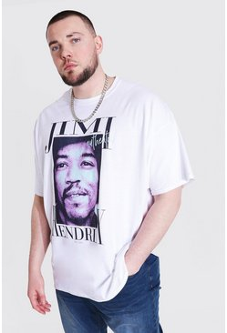 White Plus Size Jimi Hendrix License T-shirt