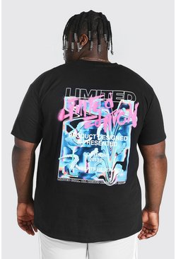 Black Plus Size Chrome Graffiti Back Print T-shirt