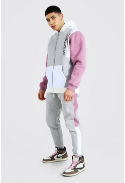 Mauve Man Official Colour Block Zip Hood Tracksuit