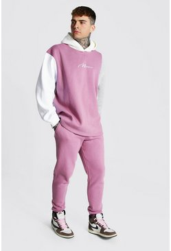 Mauve Oversize Man Signature Colour Block Tracksuit