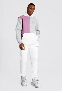 Mauve  Official Man Colour Block Hooded Tracksuit