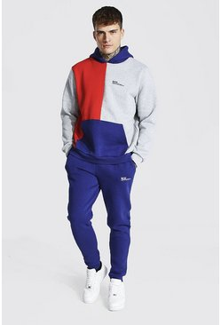 Red  Official Man Colour Block Hooded Tracksuit