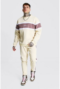 Man Colour Block Sweater Tracksuit, Taupe