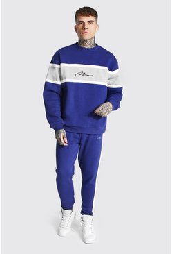 Man Colour Block Sweater Tracksuit, Navy