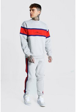Man Colour Block Sweater Tracksuit, Grey marl