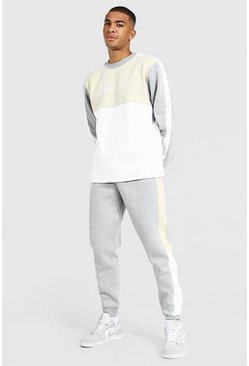 Man Official Colour Block Sweater Tracksuit, Taupe