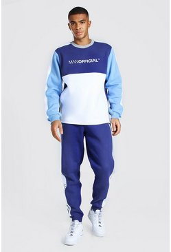 Man Official Colour Block Sweater Tracksuit, Navy