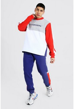 Man Official Colour Block Sweater Tracksuit, Red